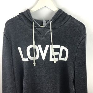 LOVED Graphic Hoodie Gray Burnout Distressed Med